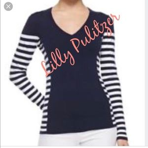 Lilly Pulitzer Navy & white striped sweater L